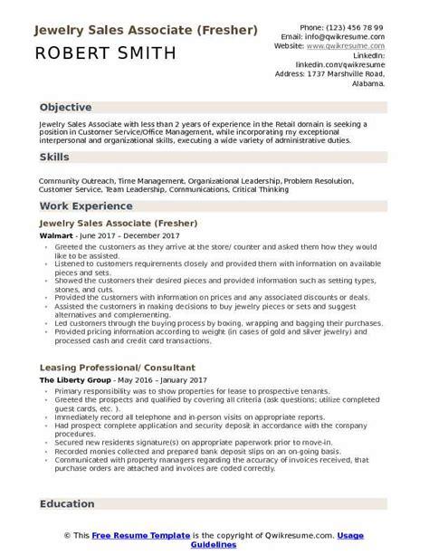 jewelry sales associate resume sles qwikresume