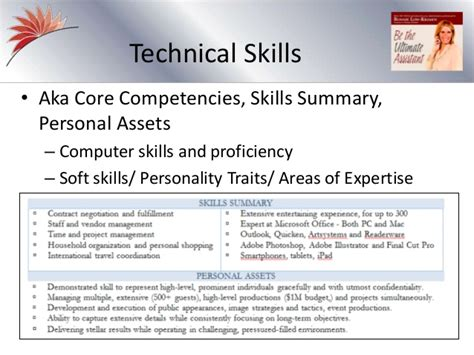 the personal assistant resume slides from recorded webinar