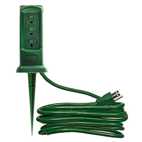 outdoor power outlet yard stake 3 grounded outlets
