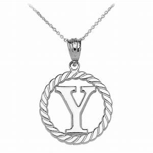 rope circle letter y pendant necklace in 9ct white gold With circle letter pendant