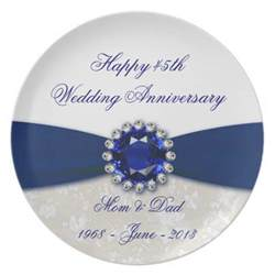 45th wedding anniversary gift damask 45th wedding anniversary plate zazzle
