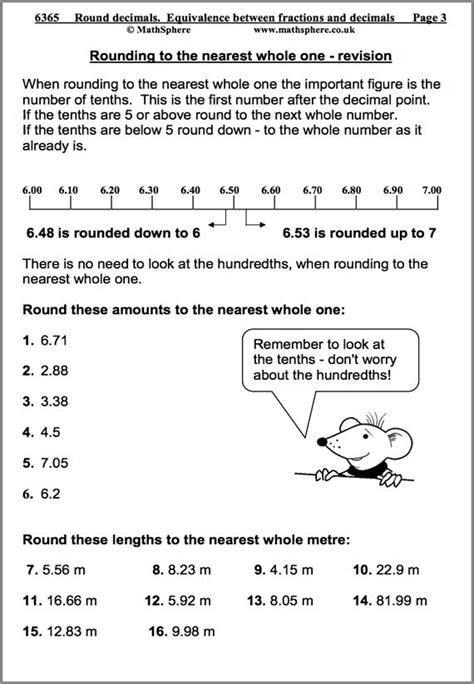 rounding decimals maths worksheet educational maths