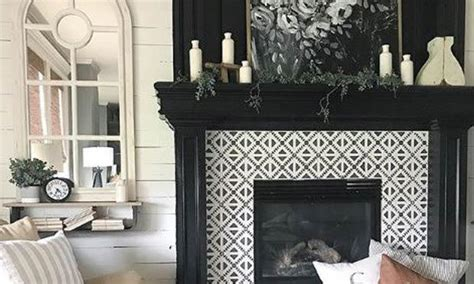 sizzling stencil style paint  fireplace tiles