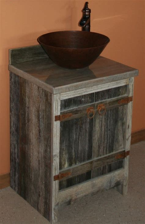 barn wood weathered gray vessel vanity barn wood