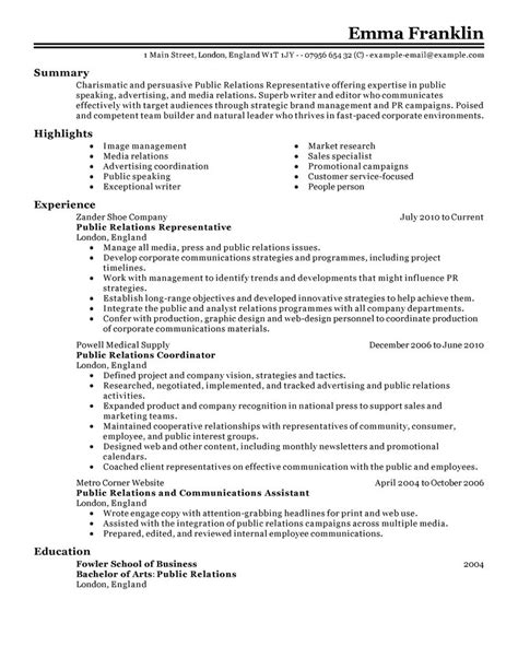 public relations sample resume best public relations resume example livecareer