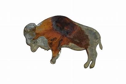 Bison Metal Rusty Wall Wood Themes Farm
