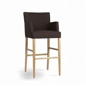 Tabouret Bar Bois : tabouret de bar avec accoudoirs en bois et tissu shawn mobitec 4 pieds tables chaises et ~ Teatrodelosmanantiales.com Idées de Décoration
