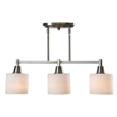 home depot kitchen island lighting hton bay oron 3 light brushed steel island light 7118