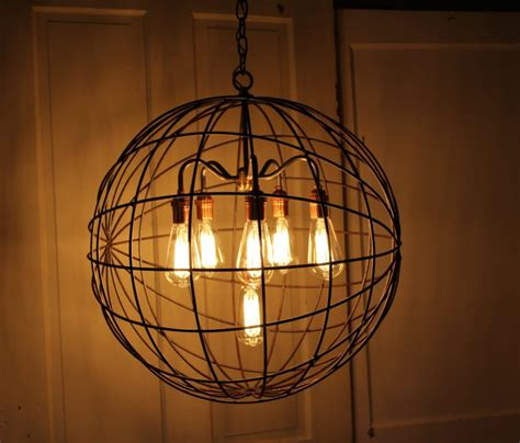 orb chandelier industrial sphere id lights