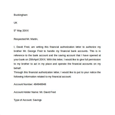 bank authorization letter  word sample templates