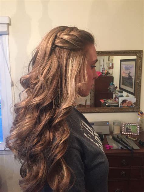 loose curls   braid   hair design prom hair