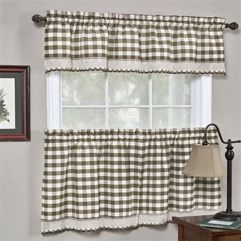 shop classic buffalo check kitchen curtains overstock
