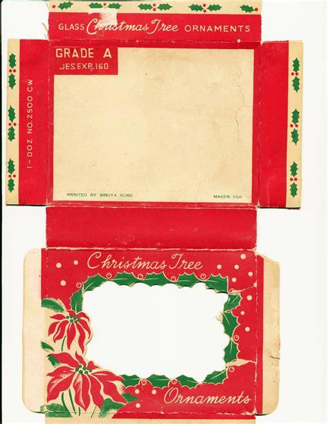 box template vintage ornaments miniature christmas