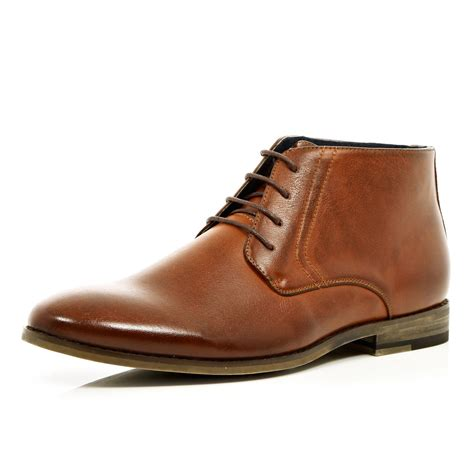 River Island Light Brown Lace Up Formal Boots In Brown For