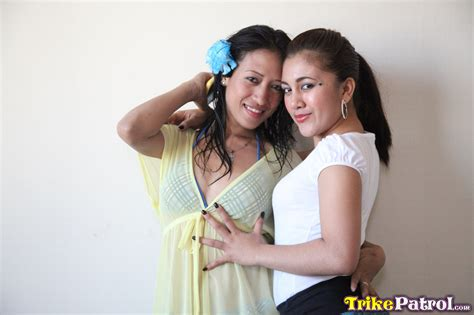 Two Cute Lesbian Filipinas Jill And Ashley Join Lucky Tourist In Hot Threesome