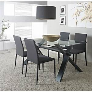 selena table de sejour 150cm verre gris anthracite achat With table sejour en verre