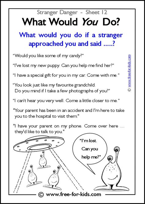 responsibility activity sheets more danger