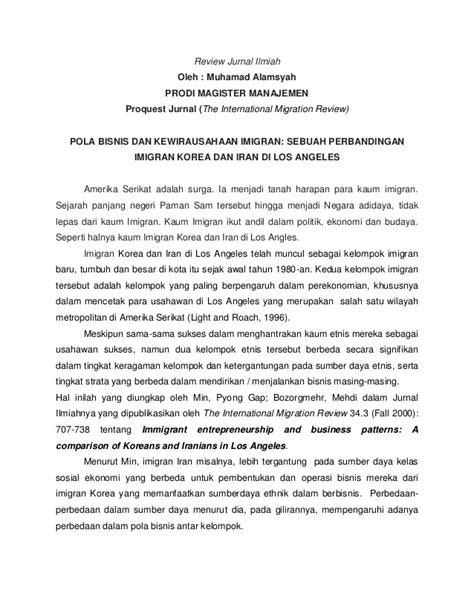 Tugas review jurnal ilmiah (Kewirausahaan Imigran Korea Vs