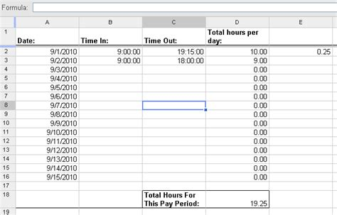 google sheets automatically calculate overtime hours