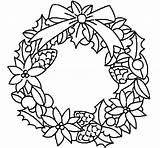 Wreath Coloring Christmas Pages Flowers Reef Flower Print Template Easy Drawing Wreaths Printable Draw Simple Candy Advent Candles Cane Papers sketch template