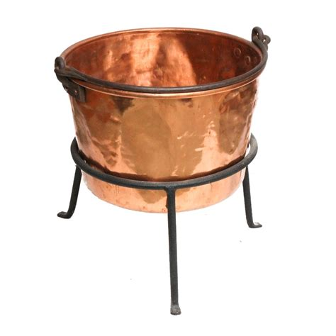 antique copper apple butter kettle  stand  tools ebth