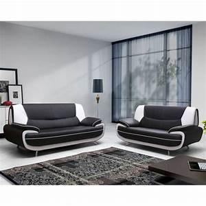 Spacio ensemble canape 32 places noir blanc achat for Canapé 3 places pour ensemble deco chambre bebe