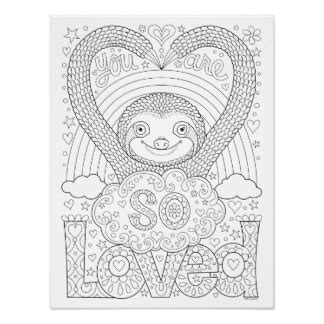 Cute Sloth Coloring Page Creative Art