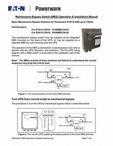 Maintenance Bypass Switch  Mbs  Operation  U0026 Installation