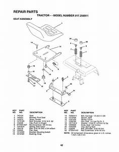 Seat Assembly  Repair Parts