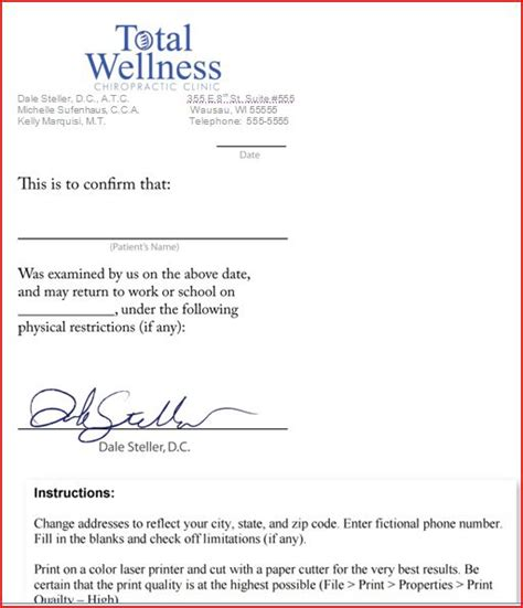 printable fake doctors notes  business form letter