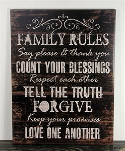 PRIMITIVE COUNTRY BLACK WOOD FAMILY RULES SIGN HANDMADE