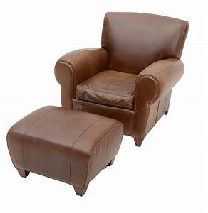 Pottery barn mitchell gold and bob williams brown leather for Gold leather chair