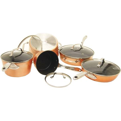 pioneer woman copper charm  piece stainless steel copper bottom cookware set walmartcom
