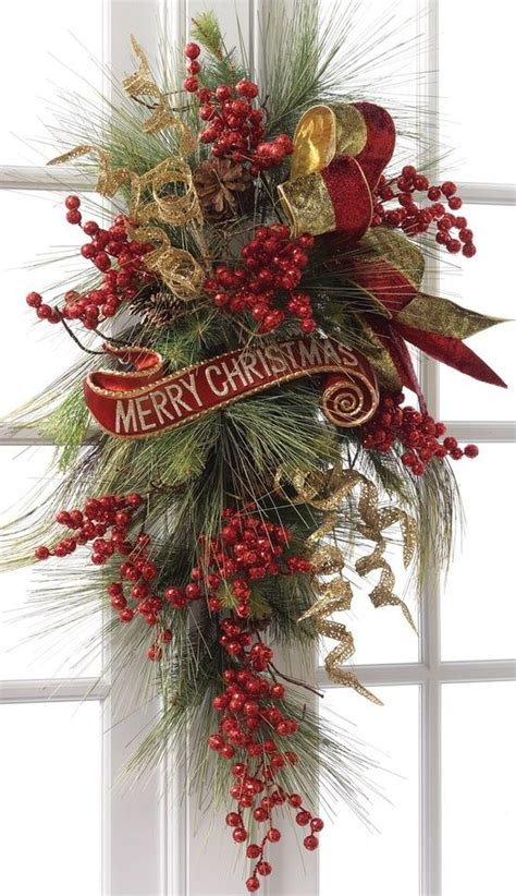 christmas swag christmas decor doors walls pinterest