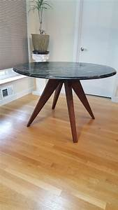 Hand, Crafted, Black, Walnut, Modern, Table, Base, For, 48, Inch, Marble, Tabletop, By, Jonathan, Walkey