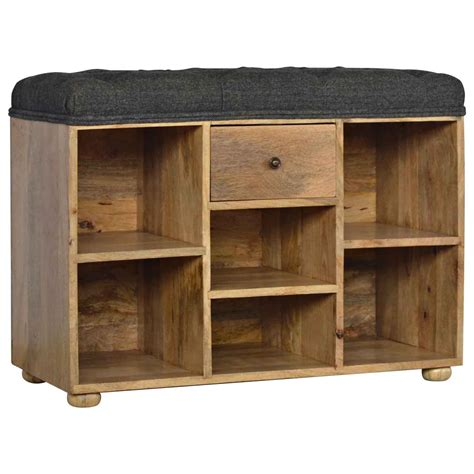 Upholstered Shoe Storage Bench by Artisan Shoe Storage Bench With Upholstered Black Tweed