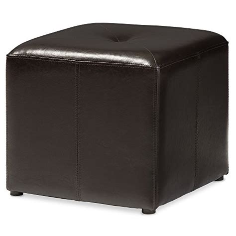 Cube Leather Ottoman by Baxton Studio Lave Cube Shaped Brown Bonded Leather