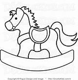 Horse Rocking Coloring Clip Da Salvato Illustration Shower Feltro sketch template