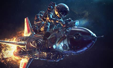 cosmic vehicle rocket motor space digital art fantasy hd