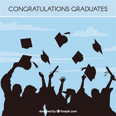 Graduate Background Blue Graduation Background With Student Silhouettes Vector