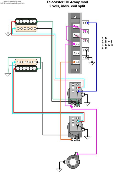 hermetico guitar wiring diagram tele hh 4 way mod with