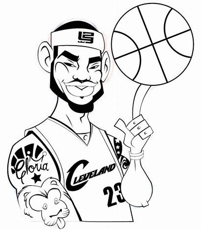 Lebron James Coloring Pages Clipart Dunking Basketball