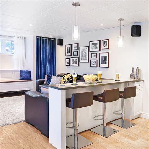 cuisine en sous sol comptoir bar dans le sous sol salon inspirations décoration et rénovation pratico pratique