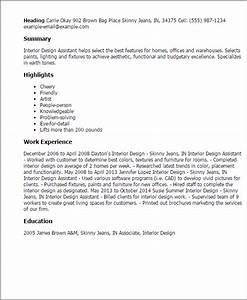 resume templates interior design assistant interior With interior decorator assistant