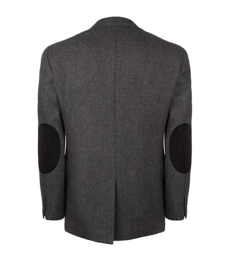 season label pocket shirt grey ralph herringbone patch jacket in gray for