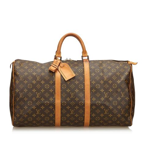 louis vuitton keepall  brown canvas  monogram canvas