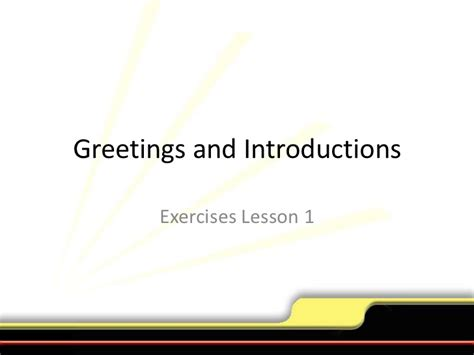 Exercise Greetings Andintroductionslesson1