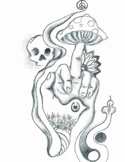 Coloring Pages Printable Stoner Mushroom Tattoo Skull
