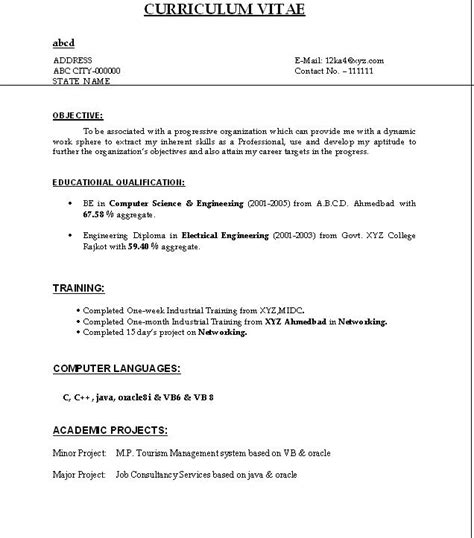 simple resume format freshers free