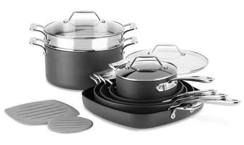 clad essentials nonstick nesting cookware set  piece cutlery